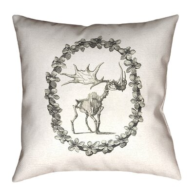Brie Vintage Elk Skeleton Indoor/Outdoor Throw Pillow Size: 16 x 16