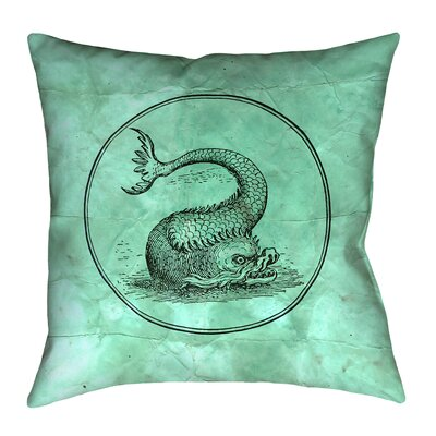 Carpenter Vintage Sea Monster Floor Pillow Size: 28 x 28, Color: Green
