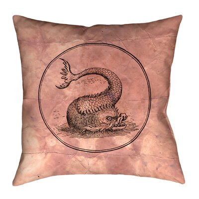Carpenter Vintage Sea Monster Floor Pillow Size: 40 x 40, Color: Red