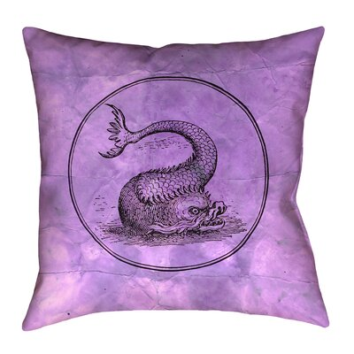 Carpenter Vintage Sea Monster Floor Pillow Size: 40 x 40, Color: Purple