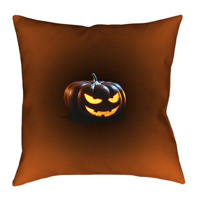 Jack-o-Lantern Indoor Throw Pillow Size: 14 x 14, Type: Pillow Cover, Material: Suede
