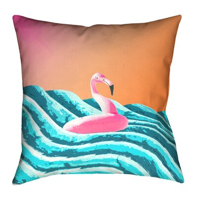 Enciso Sun and Surf Flamingo Float Pillow Size: 26 x 26, Type: Pillow Cover, Material: Cotton