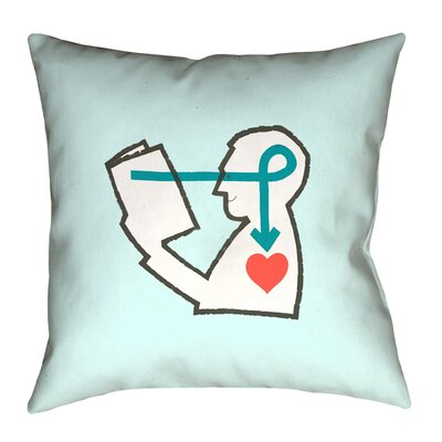 Enciso Reading Love Throw Pillow Size: 14 x 14, Color: Blue, Type: Throw Pillow