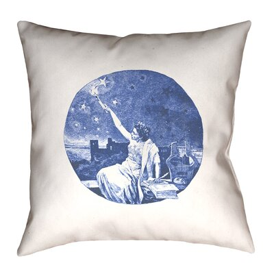 Enciso Blue Vintage Goddess Throwr Pillow Size: 14 x 14, Color: Blue