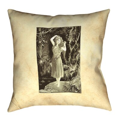 Aridas Vintage Forest Girl Square Pillow Size: 14 x 14, Type: Throw Pillow, Material: Suede