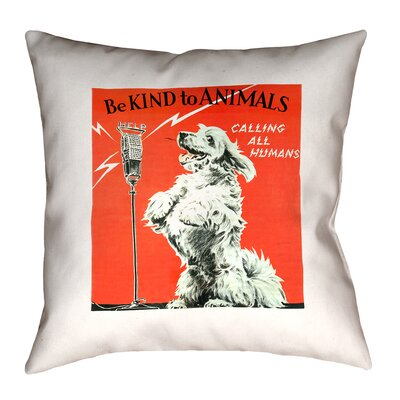 Hansard Vintage Animal Kindness Ad Throw Pillow Size: 20 x 20