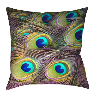 Brumit Peacock Feathers�Double Sided Throw Pillow Size: 26 x 26, Type: Pillow Cover, Material: Suede