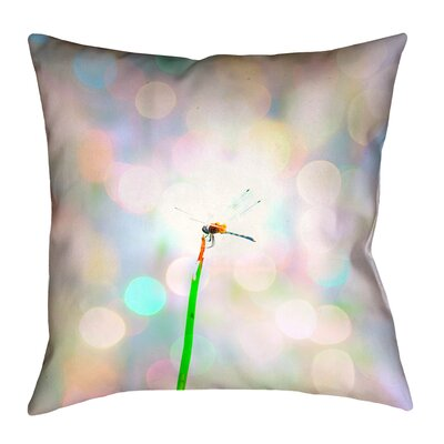 Gemmill Dragonfly and Lights Double Sided Throw Pillow Size: 18 x 18, Type: Pillow Cover, Material: Suede