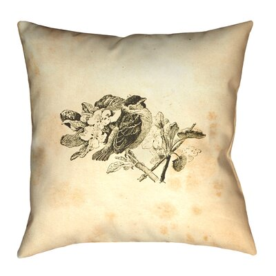Venezia Vintage Bird Double Sided Pillow Cover Size: 26 x 26, Material: Suede