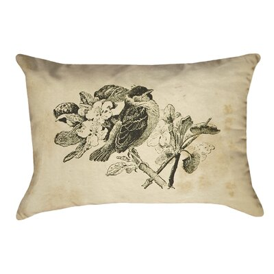 Venezia Vintage Bird Double Sided Lumbar Pillow Material: Suede