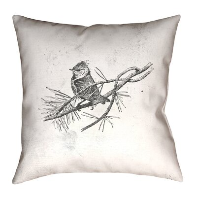 Venezia Vintage Bird Outdoor Throw Pillow Size: 18
