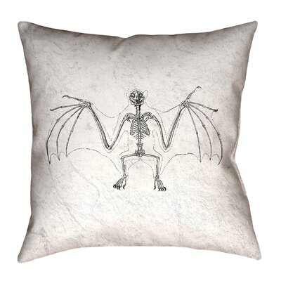 Vintage Bat Skeleton Throw Pillow Size: 18 x 18