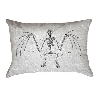 Vintage Bat Skeleton Lumbar Pillow