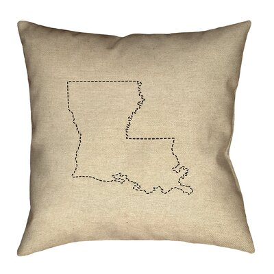 Austrinus Louisiana Dash Outline Outdoor Throw Pillow Size: 18 x 18