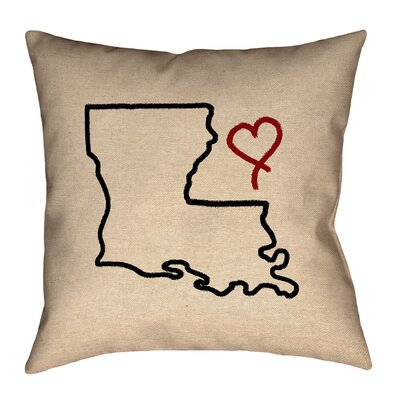 Austrinus Louisiana Love Outline Outdoor Throw Pillow Size: 16 x 16