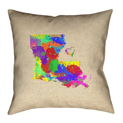Austrinus Louisiana Watercolor Print Outdoor Throw Pillow Size: 16 x 16