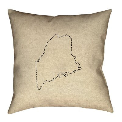 Austrinus Maine Dash Outline Square Outdoor Throw Pillow Size: 16 x 16