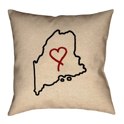 Austrinus Maine Love Outline Square Outdoor Throw Pillow Size: 18 x 18