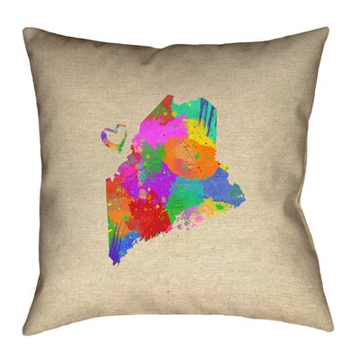 Austrinus Maine Love Watercolor Square Outdoor Throw Pillow Size: 18 x 18