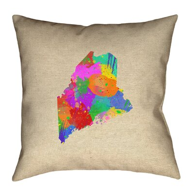 Austrinus Maine Watercolor Outdoor Throw Pillow Size: 16 x 16