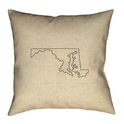 Austrinus Maryland Dash Outline Square Outdoor Throw Pillow Size: 18 x 18