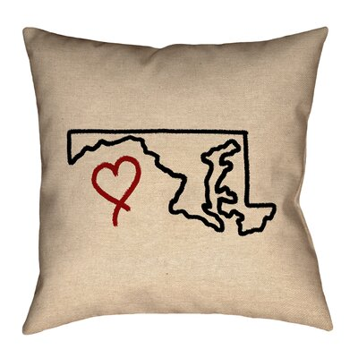 Austrinus Maryland Love Outline Square Outdoor Throw Pillow Size: 16 x 16