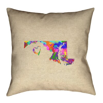 Austrinus Maryland Love Watercolor Throw Pillow Size: 18 x 18