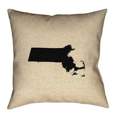 Austrinus Massachusetts No Zipper Outdoor Throw Pillow Size: 20 x 20, Color: Black