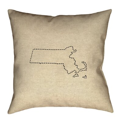 Austrinus Massachusetts Dash Outline Outdoor Throw Pillow Size: 16 x 16