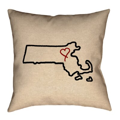 Austrinus Massachusetts Love Outline Outdoor Throw Pillow Size: 16 x 16