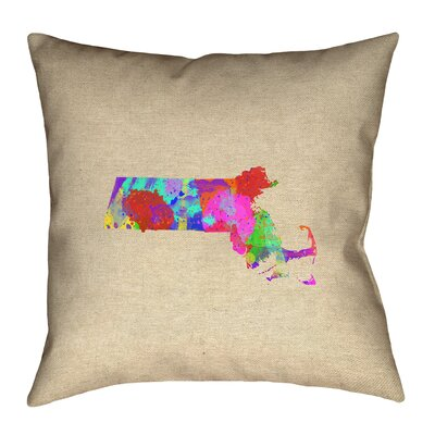 Austrinus Massachusetts Watercolor Square Outdoor Throw Pillow Size: 16 x 16