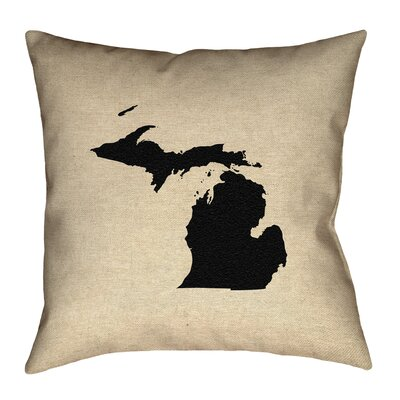 Austrinus Outline Outdoor Throw Pillow Size: 16 x 16, Color: Black