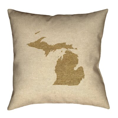 Austrinus Outline Outdoor Throw Pillow Size: 20 x 20, Color: Brown