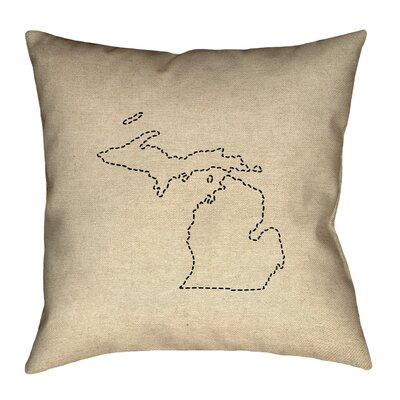 Austrinus Michigan Dash Outline Outdoor Throw �Pillows Size: 18 x 18