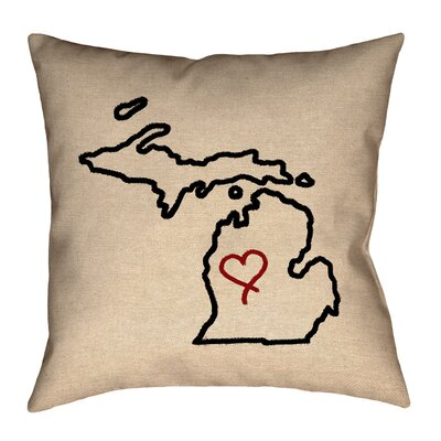 Austrinus Michigan Love Outline Cotton Throw Pillow Size: 16 x 16, Fill Material: Faux Linen