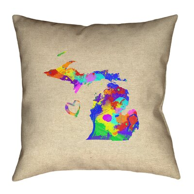Austrinus Michigan Love Watercolor Outdoor Throw Pillow Size: 18 x 18