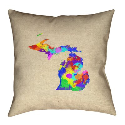 Austrinus Michigan Watercolor Outdoor Throw Pillow Size: 18 x 18