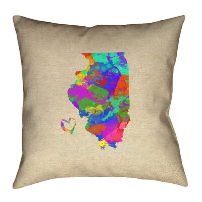 Kirkley Illinois Love Watercolor Pillow