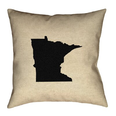 Austrinus Minnesota Map Outdoor Throw Pillow Size: 18 x 18, Color: Black