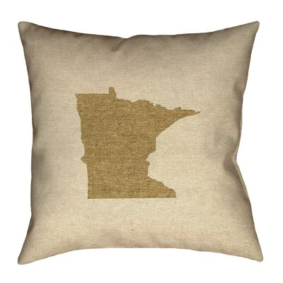 Austrinus Minnesota Outline Outdoor Throw Pillow Size: 20 x 20, Color: Brown