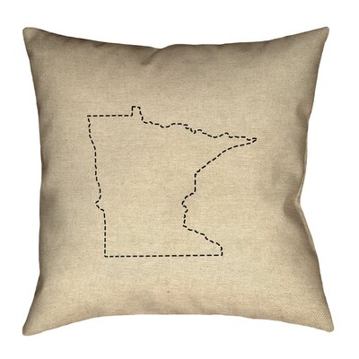 Austrinus Minnesota Dash Outline Throw Pillow Size: 16 x 16