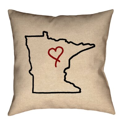 Austrinus Minnesota Love Outline Square Outdoor Throw Pillow Size: 18 x 18