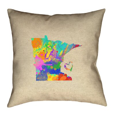Austrinus Minnesota Map Love Watercolor Outdoor Throw Pillow Size: 20 x 20