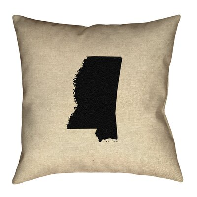 Austrinus Mississippi Outline Outdoor Throw Pillow Size: 18 x 18, Color: Black