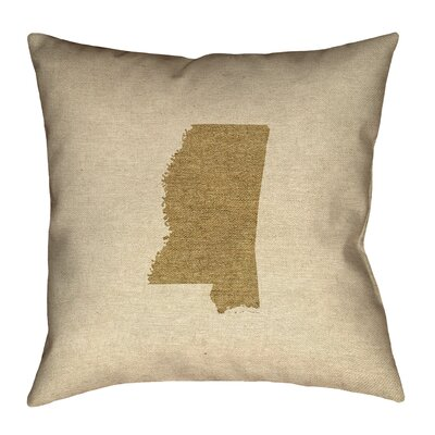 Austrinus Mississippi Outline Outdoor Throw Pillow Size: 18 x 18, Color: Brown