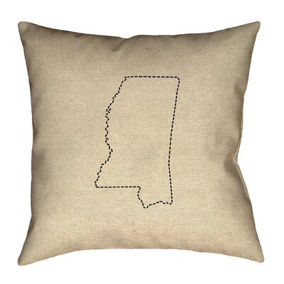 Austrinus Mississippi Map Dash Outline Outdoor Throw Pillow Size: 18 x 18