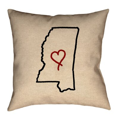 Austrinus Mississippi Love Outline Outdoor Throw Pillow Size: 18 x 18