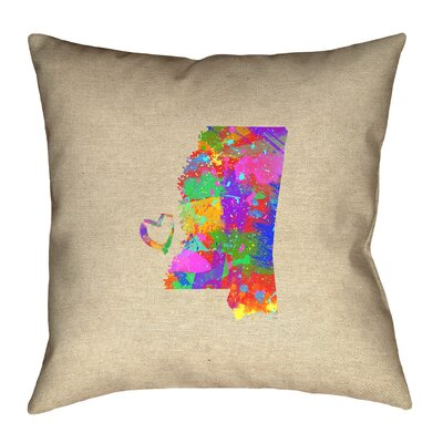Austrinus Mississippi Map Love Watercolor Outdoor Throw Pillow Size: 18 x 18