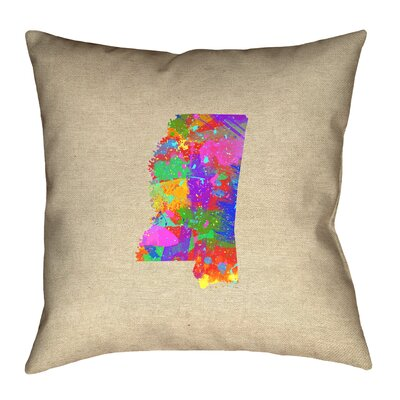 Austrinus Mississippi Map Watercolor Outdoor Throw Pillow Size: 18 x 18