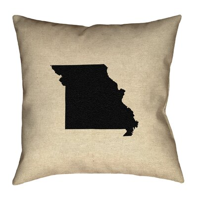 Austrinus Missouri OutlineOutdoor Throw Pillow Size: 18 x 18, Color: Black